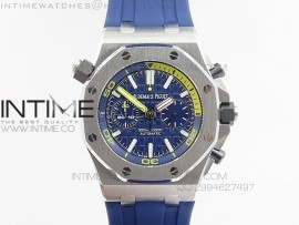 Royal Oak Offshore Diver Chronograph Blue Noob Best Edition on Blue Rubber Strap A3126