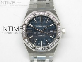 Royal Oak 41mm 15400 11 TF Best Edition Blue Dial Diamond Bezel on SS Bracelet MIYOTA 9015