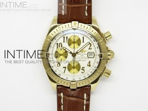 Chronomat Evolution YG White Numbers Dial on Leather Strap A7750