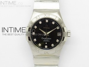 Constellation 38mm V6F SS Black Dia Marker Dial on SS Bracelet A8500