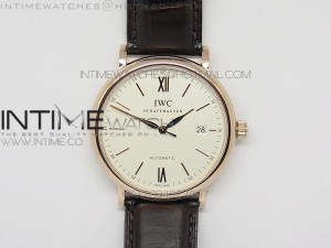 Portofino SCHAFFHAUSEN MK 1:1 Best Edition V2 White Dial RG A2892 On Black Leather