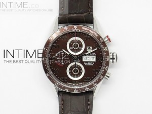 Calibre 16 43mm SS Brown Dial on Brown Leather Strap A7750