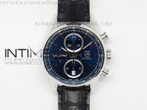 Carrera CAL1887 Chronograph 41mm SS V6F 1:1 Best Edition Blue Dial on Black CAL1887