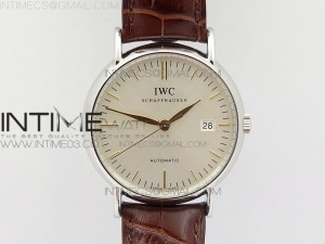 Portofino Automatic SS TWF 1:1 Best Edition White Dial gold markers on Brown Leather Strap A2892