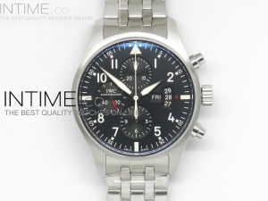 Pilot Chrono 3777 Black Dial on Stainless Steel A7750
