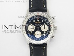 Navitimer 01 BP 1:1 SS Black Dial Numeral Markers on Black Leather Strap A7750
