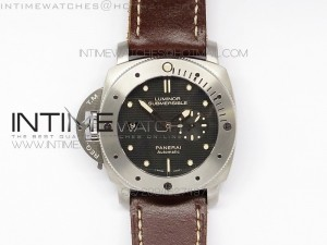 PAM569 Q Titanium JF 1:1 Best Edition on Brown Thick Leather Strap P9000 Clone