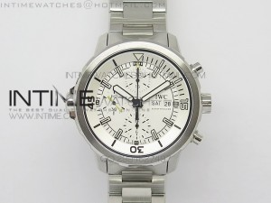 Aquatimer Chrono IW376803 V6F 1:1 Best Edition White Dial on SS Bracelet A7750