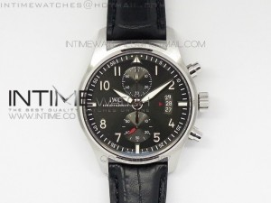 Pilot Spitfire 3878 Chrono BP Gray Dial SS on Black Leather A7750