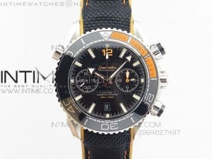 Planet Ocean Chrono 45mm SS JHF Black Dial on Nylon Clad Rubber Strap A9900