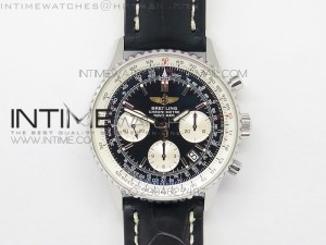 Navitimer 01 BP 1:1 SS Black Dial on Black Leather Strap A7750