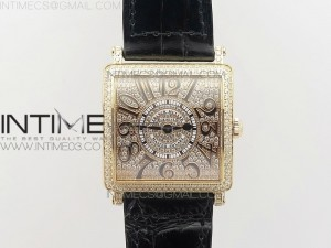 Master Square RG Ladies GF 1:1 Best Edition Full Paved Diamonds Dial on Black Leather Strap Swiss Quartz