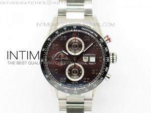 Carrera Calibre 1887 SS 1:1 Best Edition Ceramic Bezel Brown Dial on SS Bracelet  CAL1887