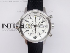 Aquatimer Costeau Diver Chrono SS White Dial on Black Rubber Strap A7750
