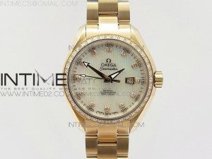AQUA TERRA 150M RG V6F Best Edition Diamond Bezel White MOP dial Ladies 1:1 Miyota 8520