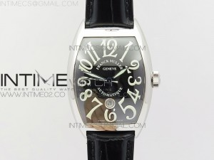 Casablanca with Date SS GF 1:1 Best Edition Black Dial on Black Leather Strap A2824