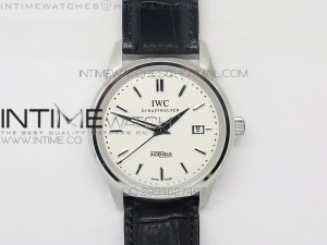 Ingeniuer St.Laurens SS White Black Dial MK 1:1 V2 Best Edition A80111 on Black Leather Strap