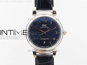 Da Vinci IW356601 SS MKF 1:1 Best Edition Blue Dial SS A2892 On Blue Leather Strap