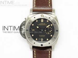 PAM569 Q Titanium V6F 1:1 Best Edition on Brown Thick Leather Strap P9000