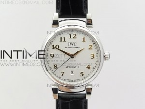 Da Vinci IW356601 SS MKF 1:1 Best Edition White Dial SS A2892 On Black Leather Strap