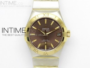 Constellation 38mm V6F SS/YG Brown Dial on SS/YG Bracelet A8500