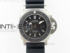 PAM1389 Titanium XF Best Edition Black Ceramic Bezel Black Dial on Black Rubber Strap P.9010