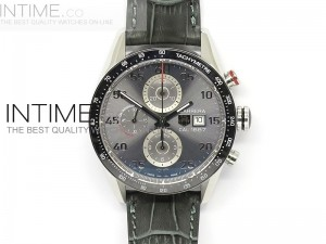 Carrera Calibre 1887 SS 1:1 Best Edition Ceramic Bezel Gray Dial on SS Leather strap CAL1887