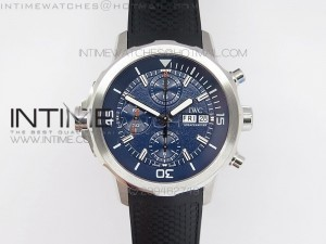 Aquatimer Costeau Diver Chrono SS Blue Dial on Black Rubber Strap A7750