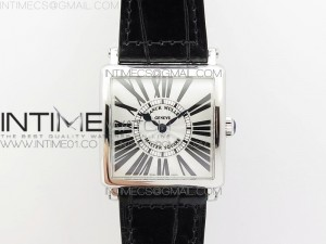 Master Square SS Ladies GF 1:1 Best Edition White Dial on Leather Strap Swiss Quartz