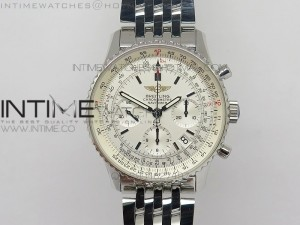 Navitimer 01 BP 1:1 SS White Dial on Brown SS Bracelet A7750