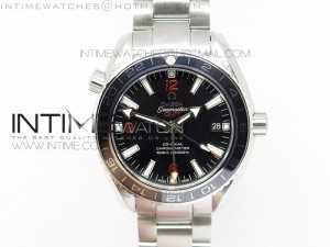 Planet Ocean GMT 42mm V6F 1:1 Best Edition Black Dial Silver Markers on SS Bracelet A8605