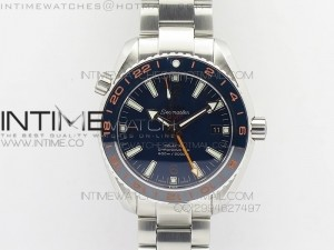 Planet Ocean GMT 42mm V6F 1:1 Best Edition Blue Bezel Orange Numbers on SS Bracelet A8605