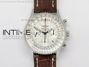 Navitimer 01 BP 1:1 SS White Dial Numeral Markers on Brown Leather Strap A7750