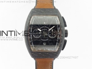 Casablanca Chrono Carbon Black Dial on Brown Gummy Strap A7753