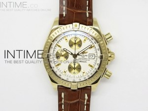 Chronomat Evolution YG White Sticks Dial on Leather Strap A7750