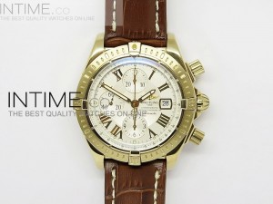 Chronomat Evolution YG White Roman Dial on Leather Strap A7750