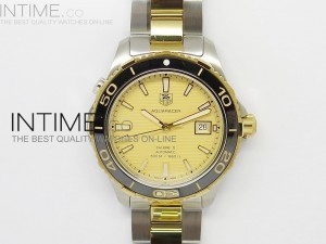 Aquaracer SS Yellow Gold Dial Black Bezel on SS/YG Bracelet Strap A2824