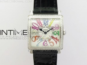 Master Square SS Ladies GF 1:1 Best Edition White Color Numeral Dial Diamond Bezel on Leather Strap Swiss Quartz