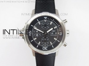 Aquatimer Costeau Diver Chrono SS Black Dial on Black Rubber Strap A7750