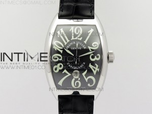 Casablanca with Date SS TW 1:1 Best Edition Black Dial on Black Leather Strap A2824