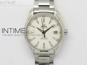 Aqua Terra 150M SS 1:1 Best Edition White Textured Dial RG Markers on   SS Bracelet A8500