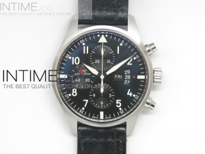 Pilot Chrono 3777 Black Dial on Leather strap A7750