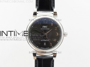 Da Vinci IW356601 SS MKF 1:1 Best Edition Gray Dial SS A2892 On Black Leather Strap