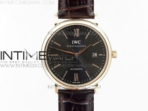 Portofino IW356501 RG V3 MK 1:1 Best Edition Gray Dial On brown leather strap MIYOTA 9015