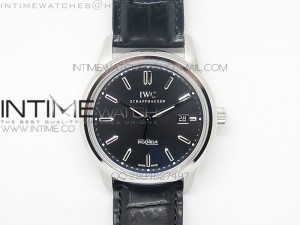 Ingeniuer St.Laurens SS Black Dial MK 1:1 V2 Best Edition A80111 on Black Leather Strap