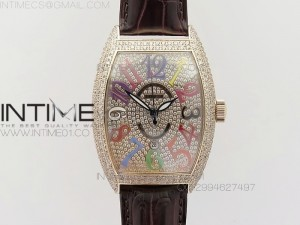 FM RG Diamond Case Best Edition Diamond dial on brown alligator Leather SEIKO NH05A
