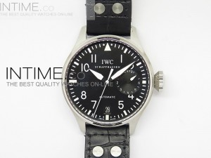 Big Pilot 5004 SS Black Superlumed Dial on Black Leather Strap A25J