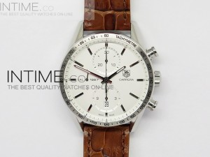 Carrera CAL1887 Chronograph SS V6F 1:1 Best Edition White Dial on Leather CAL1887