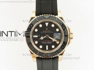 Yacht-Master 116655 Noob 1:1 Best Edition 3D Black Ceramic Bezel on Black Rubber Strap A2836(Free Extra Strap)